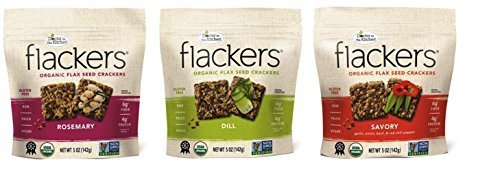 Doctor In The Kitchen Flackers Gluten Free Flax Seed Crackers 3 Flavor Variety Bundle: (1) Flackers Savory, (1) Flackers Dill, and (1) Flackers Rosemary, 5 Oz. Ea. (3 Boxes Total)