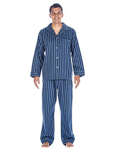 Mens 100% Cotton Woven Pajama Sleepwear Set - Stripes Blue Tone - Medium
