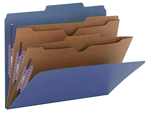 "Smead Pressboard Classification File Folder with SafeSHIELD Fasteners, 2 Pocket Dividers, 2"" Expansion, Letter Size, Dark Blue, 10 per Box (14077)"
