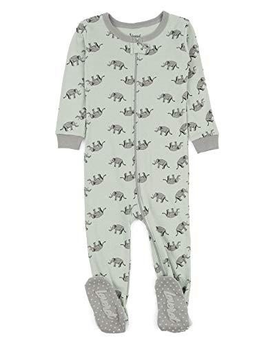 (Leveret Kids Pajamas Baby Boys Girls Footed Pajamas Sleeper 100% Cotton (Elephant, Size 12-18 Months))