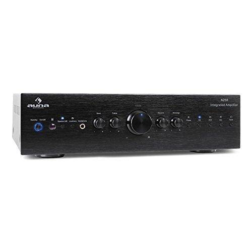 auna CD708 Stereo HiFi Heimkino Musik Audio Verstärker (125W RMS, 5 Stereo-Cinch-Line-Eingänge, AUX-IN, Fernbedienung, massive Frontblende aus gebürstetem Aluminium) schwarz