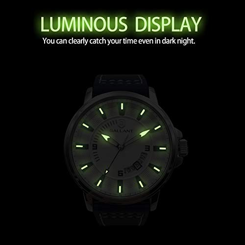 Mens Watch, Analog Quartz Watch for Men with Genuine Leather Strap Fashion Waterproof Watches Calendar Date Luminous Wristwatch - Luxury Casual Classic Dress Gift