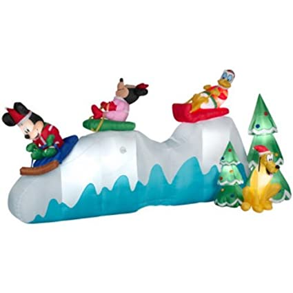 christmas animated inflatable airblown disney mickey mouse minnie mouse donald duck and friends on sled home kitchen