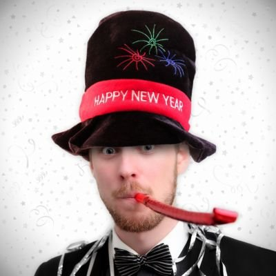 Black Velour Celebration Happy New Year Party Top Hat