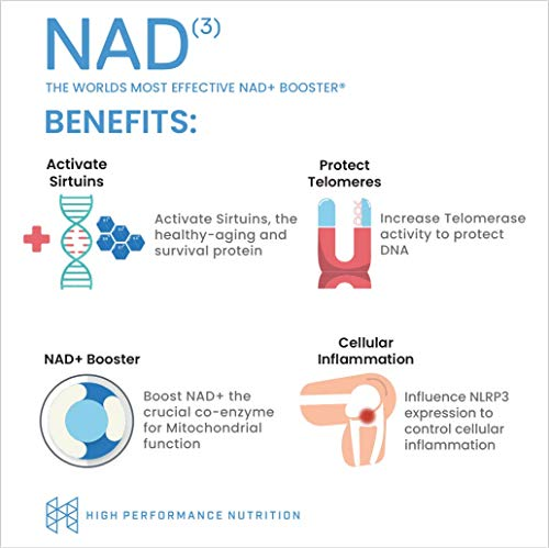 HPN NAD+ Booster – Nicotinamide Riboside Alternative (NAD3) for Men & Women | Anti Aging NRF2 Activator, Superior to NADH – Natural Energy Supplement for Longevity & Cellular Health, 60 Caps, 3-Pack by HPN (Image #2)