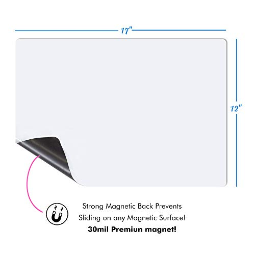 Magnetic-Dry-Erase-Whiteboard-Sheet for Fridge Stain Resistant Technology 17x12 Refrigerator White Board Organizer and Planner Includes 3 Markers,2 Clips,Pen Holder and Big Eraser with Magnets Photo #4