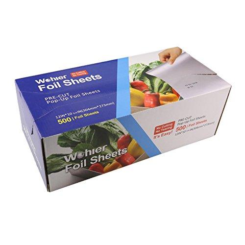 Extra Heavy Aluminum Foil (Wohler Durable Interfold Kitchen Aluminum Foil Sheet (500 Sheets Total))