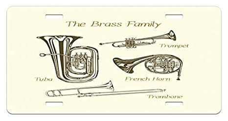 Amazon Com Lunarable Music License Plate Brass Family Instruments