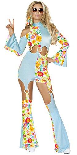 Musotica Hippie Go Go Dancer Flower Catsuit Halloween Costume - Blue/Multi - -