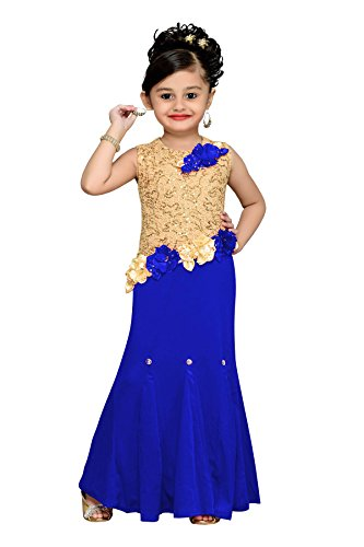 Aarika Girl's Blue Floral Design Party Wear Gown (G-956-BLUE_38_14-15 Years) by Aarika