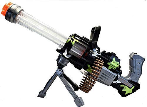 Spica Trading Company, LLC Thunder Fire Heavy Machine Toy Gatling Gun with LED Lights and Battle Sounds - Machine Gun Silencer