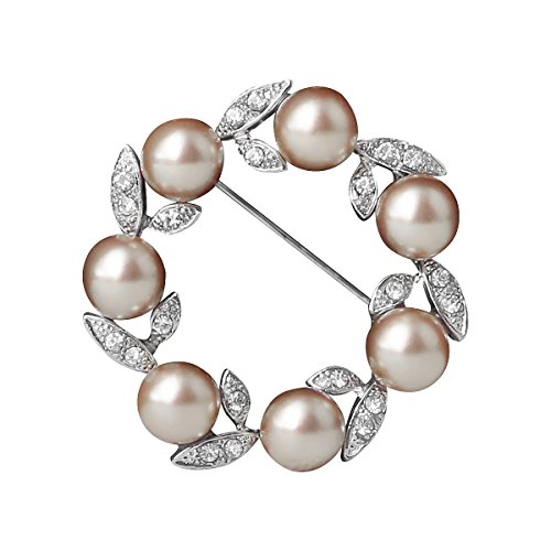 (Ailer Happy Deal 67% Discount Simulated Pearl Brooch for Women Circle Wreath Created Crystal Flower Brooches for Women)