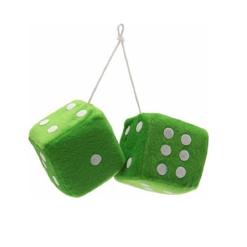 """Vintage Parts 14558 3"""" Green Fuzzy Dice with White Dots - Pair"""