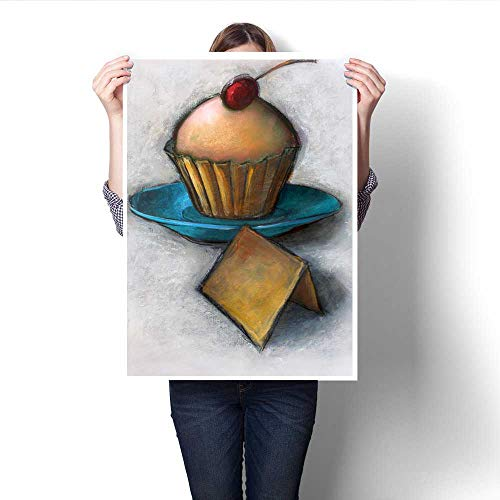 Anshesix Canvas Painting Sticker Sweet Little Cupcake Print On Canvas for Wall Decor 24