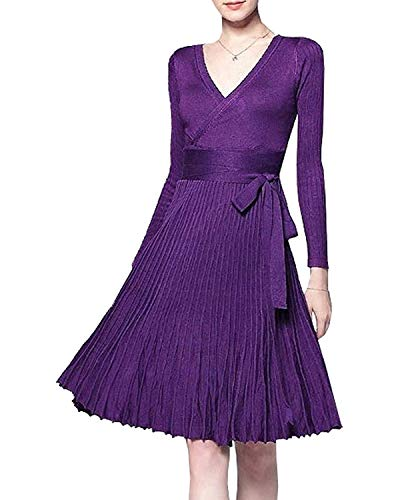 Winter Dress Womens Spring Sexy V-Neck Long Sleeve Wrap Dresses Elegant Belted Midi Solid Knit Sweater with Ruffle Purple Belted Long Sleeve Sweater