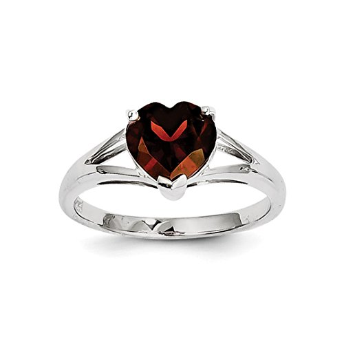 ICE CARATS 925 Sterling Silver Red Garnet Band Ring Size 6.00 S/love Gemstone Fine Jewelry Gift Set For Women Heart - Garnet Sterling Silver Designer Ring