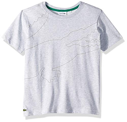 Lacoste BOY Big Croc Shape Along The Body T-Shirt, Silver Chine/White/Platinum/Woodland Green, 8YR