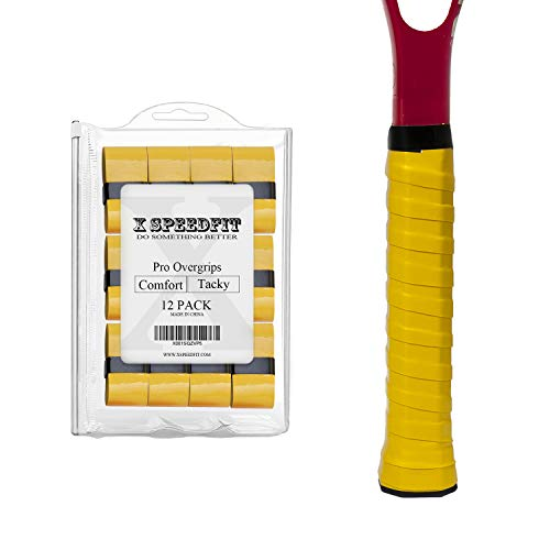 Tennis Racket Grip Tape Tacky Overgrip Yellow - 12 Pack, Ultra Absorption and Good Anti-Slip, Wrap around Badminton Racquet, Squash Handle, Racquetball, Beach Tennis, Pickleball Paddle and More
