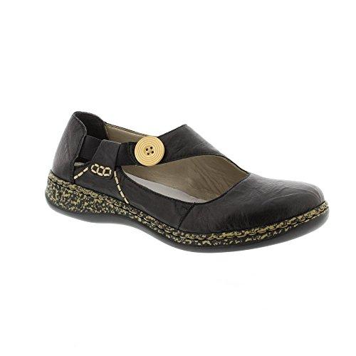 Womens Flat PU Casual Slippers Black - 7