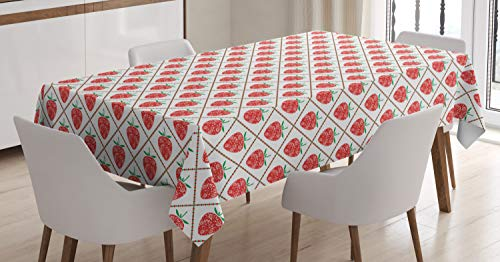 Ambesonne Fruit Art Tablecloth, Ethnic Floral Ornamental Strawberries in Tiny Dotted Rhombus Symmetric, Dining Room Kitchen Rectangular Table Cover, 60 W X 84 L Inches, Vermilion White Green