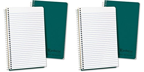 Ampad Single Wire Notebook, Recycled, Size 8x5, 1 Subject ,Green Cover, Narrow Ruled, Not 3 Hole Punched, 80 Sheets per Notebook (25-400), 2 Packs