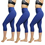 FuelMeFoot High Waisted Yoga Leggings -Regular and Plus Size -Super Soft Capri-Length Opaque Slim (Sapphire, Plus Size)