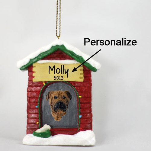Bullmastiff Personalizable Dog House Christmas Ornament - Hand Painted - Delightful