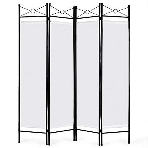 (Giantex 4 Panel Room Divider Screens Steel Frame & Fabric Surface Freestanding Room Dividers and Folding Privacy Screens Home Office,)
