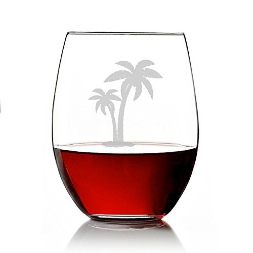 Palm Tree Engraved 11-ounce Stemless Wine Glass