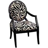 Furniture of America Marty Zebra Print Padded Fabric Arm Chair, Espresso Finish