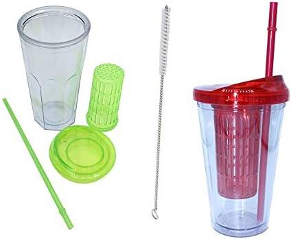 ML Pack 2 Vasos de Batidos infusiones de plástico sin BPA con Tapa y Pajitas - Bebidas heladas y frías Doble Pared Envase Transparente 710ml Colores Verde Rojo