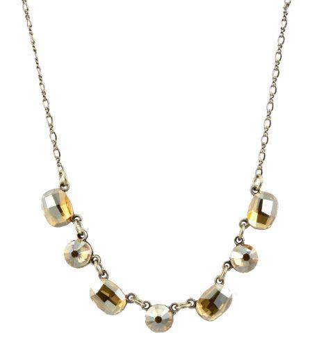 Anne Koplik Necklace, Silver Plated with Faceted Crystals Anne Koplik Designer Necklace