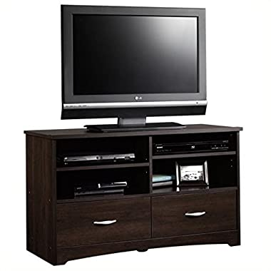 Sauder Beginnings TV Stand with Drawers, Cinnamon Cherry
