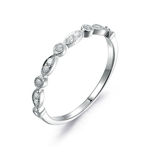 - 14K White Gold Wedding Band,Half Eternity,Engagement Ring,Stackable Ring,Micro Pave Diamond