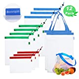 BONROPIN Reusable Mesh Produce Bags(10+2 Pack),Superior Double-Stitched Strength Bags,Great for Grocery Shopping,Fresh Produce,Grocery,Tools