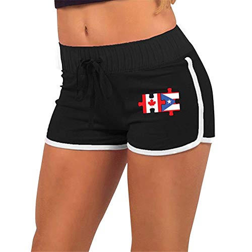 Canada Puerto Rico Flags Puzzle-1,Gym Fitness,Sport Hot Pants Pants with Athletic Elastic Waist Womens Sports Fitness Yoga Shorts