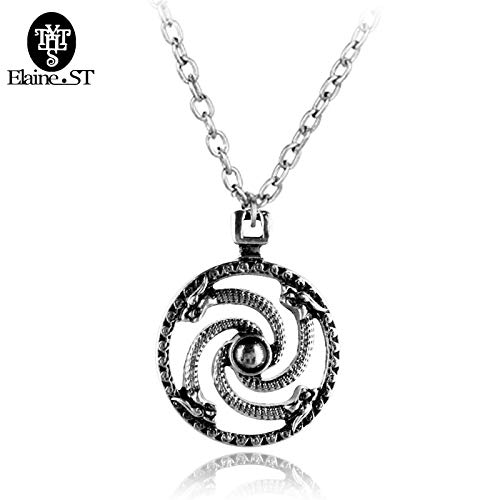 Serpentine Pendant with Wolves Head Solar Symbol Solar Pendant Baltic Swastika Olar Pendants Necklace Maxi Hip Hop Jewelry