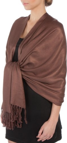 Sakkas Large Soft Silky Pashmina Shawl Wrap Scarf Stole in Solid Colors- Chocolate Brown