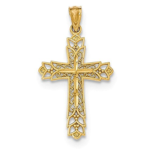 Bedrock Jewelry Solid 14k Yellow Gold Polished Filigree Cross Pendant - 14k Gold Filigree Cross Pendant
