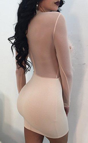Femmes Blansdi Plumes Sexy Maille Pure Voir À Travers Le Cou Maquette Bodycon Clubwear Partie Mini-beige Robe