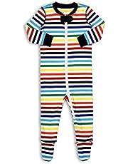 Primary Baby Unisex Rainbow Striped Cotton Zip Footie Sleeper