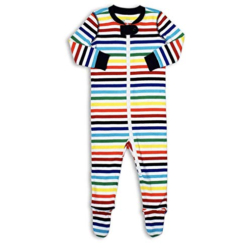 Primary Baby Unisex Rainbow Striped Zip Footie