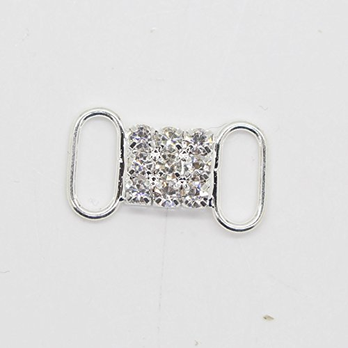 AngHui ShiPin 30pcs/lot 21X12mm Bikini Swimwear Connectors Charm Metal Chain Buttons Crystal Rhinestone Buckle For Swimwear