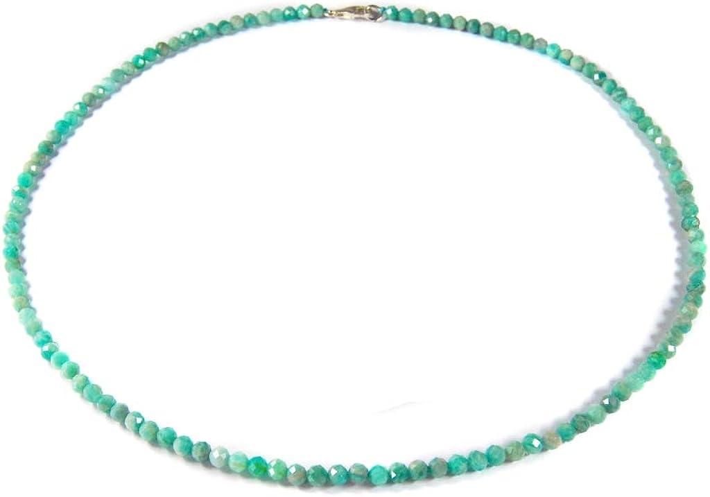 Sunglory - Cadena de Piedras Preciosas para Mujer, Collar de amazonita en Forma de Bola facetada, diámetro de 4 mm, Cierre de Plata 925