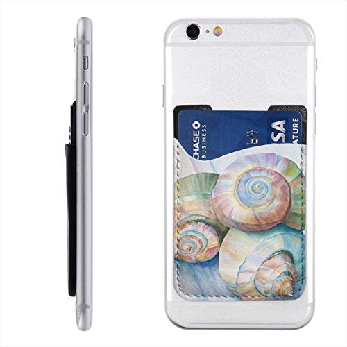Conch Shell Cell Phone Card Holder, Stick On Wallet for Back of Phone, 3M Adhesive Ultra Slim Phone Pocket ID Credit Card Holder Sleeves Pouch Compatible All Smartphone