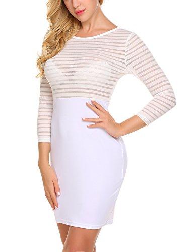 Acevog Sexy Maille Rayée À Manches Longues Des Femmes Voir À Travers Robe Moulante Partie Clubwear Blanc