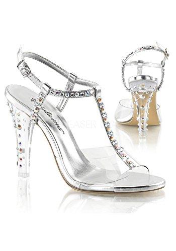Fabulicious Clearly-426 sexy transparente High Heels Strass Sandaletten, Silber, 35-42 Clr-Slv Metallic Pu