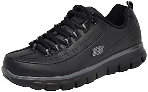 Skechers for Work Women's Sure Track Trickel Slip Resistant Shoe, Black/Charcoal, 9 M