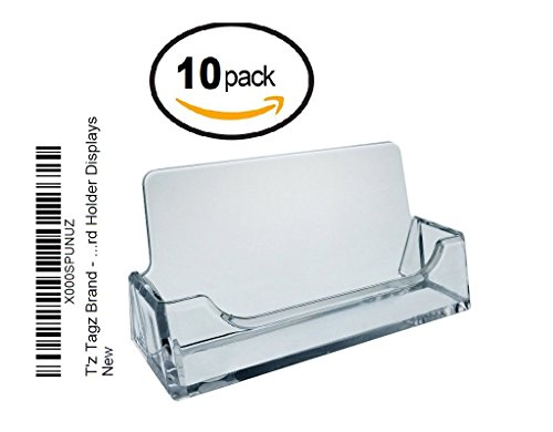 T'z Tagz Brand - 10 Individually Bagged Clear Acrylic Business Card Holder Displays