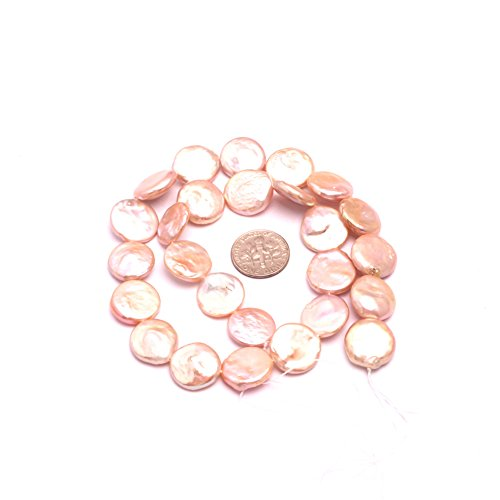 Sweet Happy Girl's 14mm coin gemstone pink freshwater pearl beads strand 15 Inch Jewelry Making Beads ()